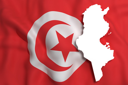 tunisia: 3d rendering of Tunisia map and flag.