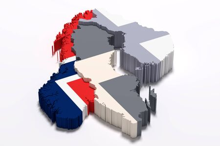 national geographic: 3d rendering of Norway map and flag.