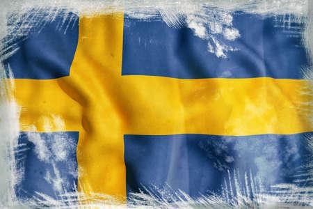 bandera de suecia: Representación 3D de una bandera de Suecia
