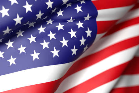 usa flags: 3d rendering of an United States of America flag waving