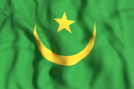 arabe: Las 3D de la bandera de Mauritania ondeando