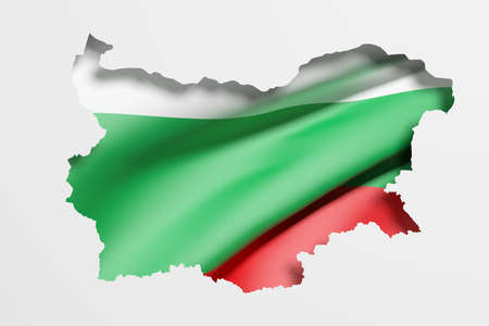 frontage: 3d rendering of Bulgaria map and flag on white background.