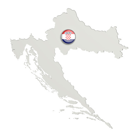 boundaries: 3d rendering of Croatia boundaries and button with Croatia flag on white background. Stock Photo