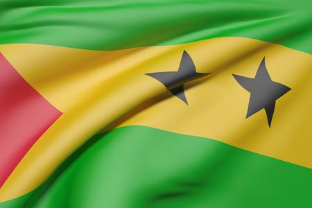 principe: Las 3D de la República Democrática de Santo Tomé y Príncipe bandera ondeando Foto de archivo
