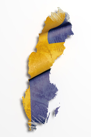 frontage: 3d rendering of Sweden map and flag on white background.