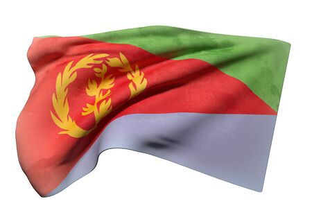 eritrea: 3d rendering of an old and dirty  Eritrea flag waving on a white background