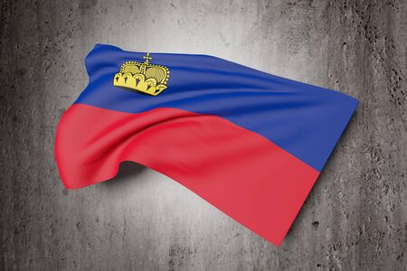geographical: 3d rendering of Liechtenstein flag waving on a dirty background Stock Photo