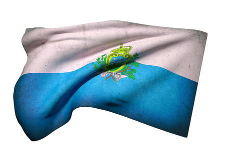 geographical: 3d rendering of San Marino flag waving Stock Photo
