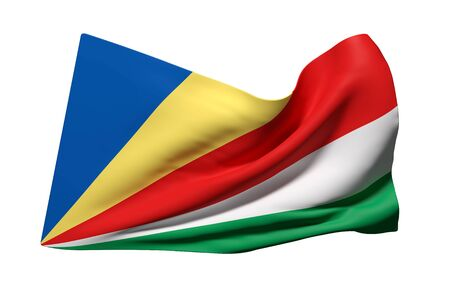 paradisiac: 3d rendering of Seychelles flag waving on a white background