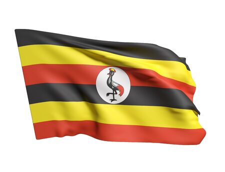 kampala: 3d rendering of Uganda flag waving on a white background