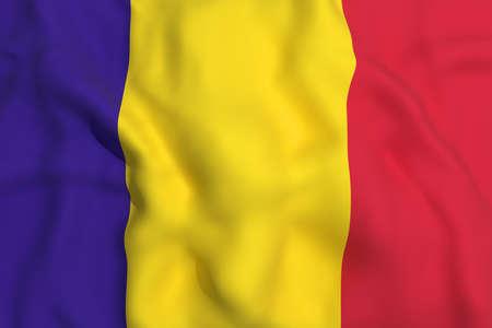 romania flag: 3d rendering of a Romania flag waving Stock Photo