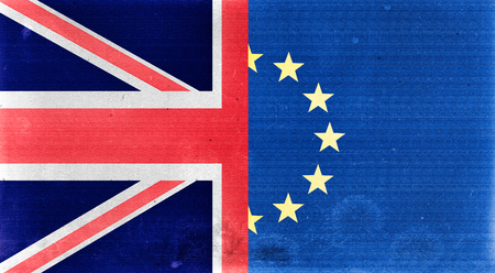 referendum: Illustration of an old and dirty United Kingdom and Europe flags. Brexit referendum.