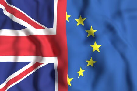 european economic community: 3d rendering of an United Kingdom and Europe flags. Brexit referendum.