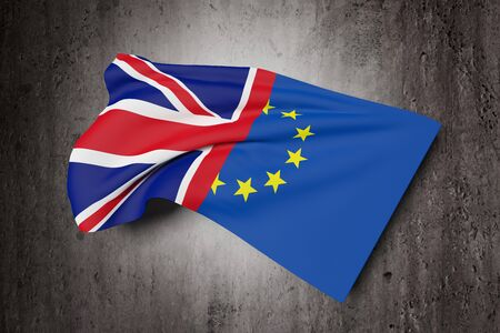 the european economic community: 3d rendering of an United Kingdom and Europe flags. Brexit referendum.