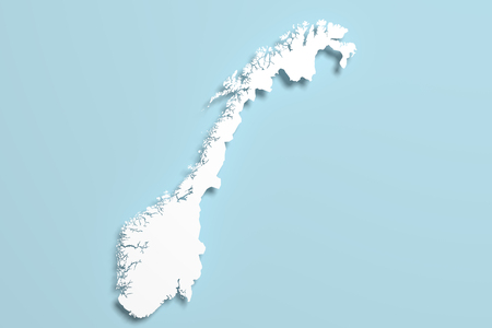 national geographic: 3d rendering of a Norway map on blue background.