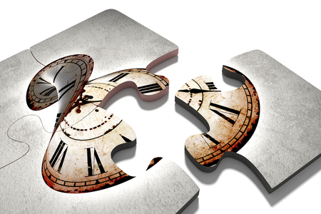 twisted: 3d rendering of close-up of puzzle pieces with vintage twisted clock print. Isolated