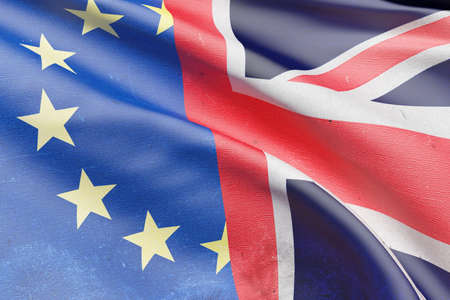 referendum: 3d rendering of an United Kingdom and Europe flags. Brexit referendum.