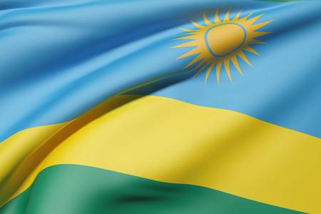 rwanda: 3d rendering of Republic of Rwanda flag waving