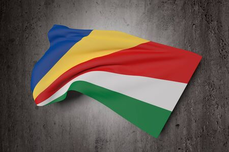 paradisiac: 3d rendering of Seychelles flag waving on a dirty background