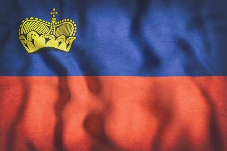 liechtenstein: 3d rendering of Liechtenstein flag waving