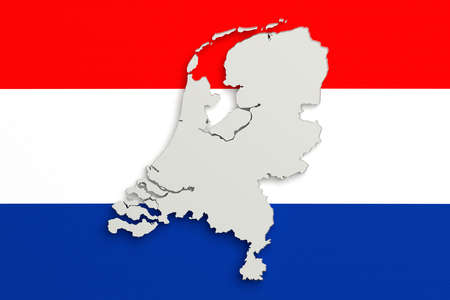 national geographic: 3d rendering of Holland map and flag on background.
