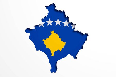 3d rendering of Kosovo map and flag on white background. Stock Photo