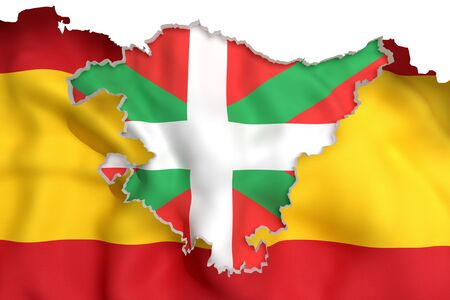 alava: 3d rendering of  map of Basque Country with flag of Spain Stock Photo
