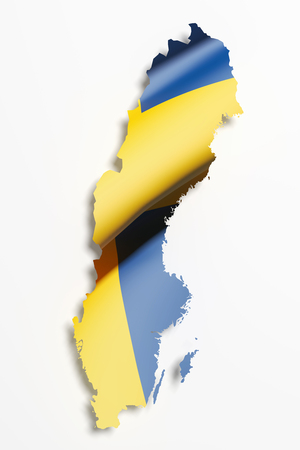 sweden map: 3d rendering of Sweden map and flag on white background.