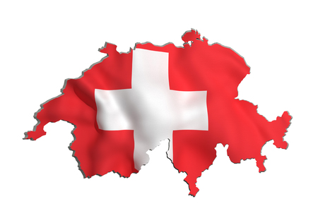 national geographic: 3d rendering of Switzerland map and flag on white background.
