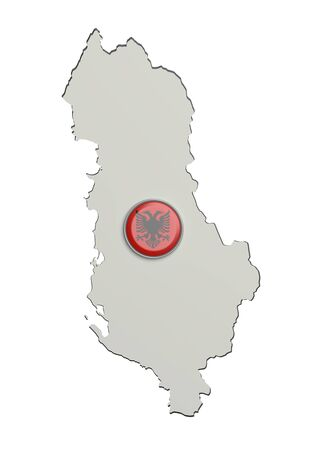 frontage: 3d rendering of Albania boundaries and button with flag on white background. Stock Photo