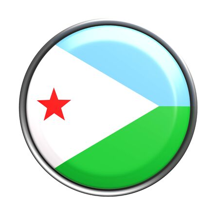 3d rendering of Djibouti button with flag on white background