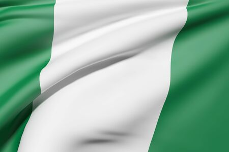 3d rendering of Federal Republic of Nigeria flag waving Stock Photo
