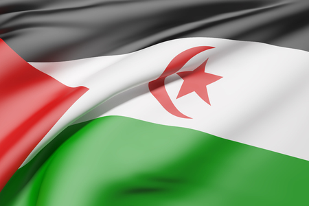 democratic: 3d rendering of Sahrawi Arab Democratic Republic flag waving Stock Photo