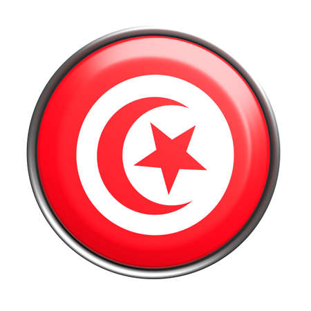 national geographic: 3d rendering of Tunisia button with flag on white background