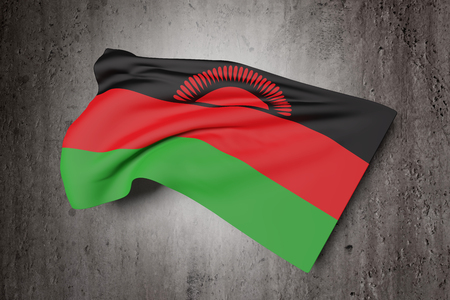 malawi flag: 3d rendering of Republic of Malawi flag waving on a dirty background