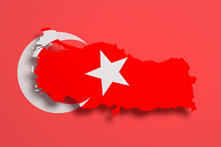 frontage: 3d rendering of Turkey map and flag on background.