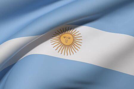 argentine: 3d rendering of Argentine Republic flag waving