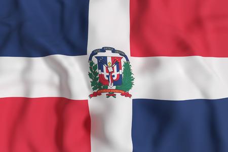 3D-weergave van de Dominicaanse Republiek vlag zwaaien