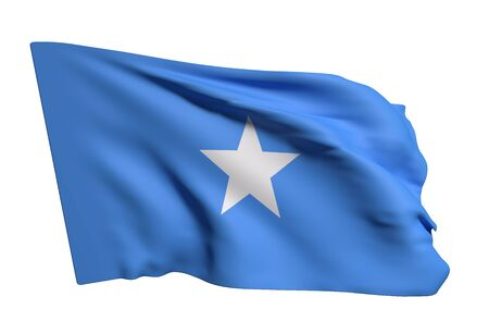 3d rendering of Somalia flag waving on a white background