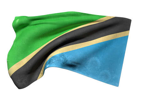3d rendering of an old and dirty Tanzania flag waving on a white background
