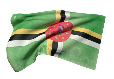 3d rendering of an old and dirty Dominica flag waving on a white background Stock Photo