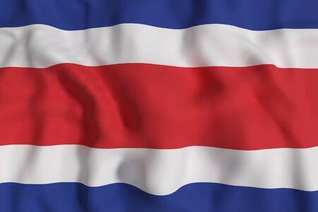 bandera de costa rica: representación 3D de la bandera de República de Costa Rica que agita