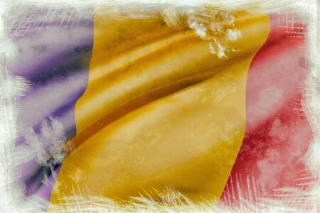 chad flag: 3d rendering of an old and dirty Republic of Chad flag waving