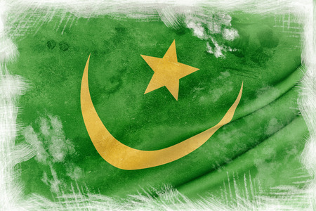 �rabe: 3d rendering of an old and dirty Mauritania flag waving