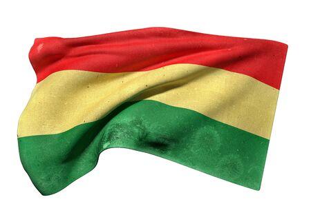 bandera de bolivia: 3d prestaci�n de un viejo y sucio bandera de Bolivia que agita en el fondo blanco
