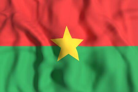 3d rendering of Burkina Faso flag waving