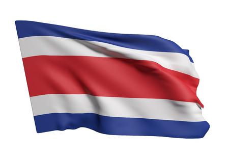 bandera de costa rica: representación 3D de la bandera de República de Costa Rica que agita en un fondo blanco