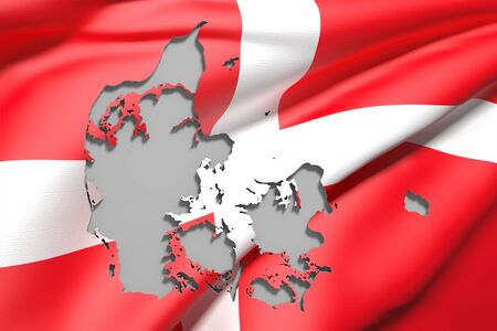 3d rendering of Denmark map and flag on background.