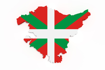3d rendering of  map of Basque Country with flag on background.