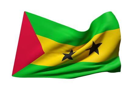 principe: 3d rendering of Democratic Republic of Sao Tome and Principe flag waving on a white background Foto de archivo